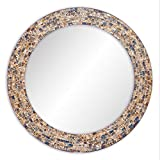 DecorShore 24″ Decorative Mosaic Glass Wall Mirror (Gold)
