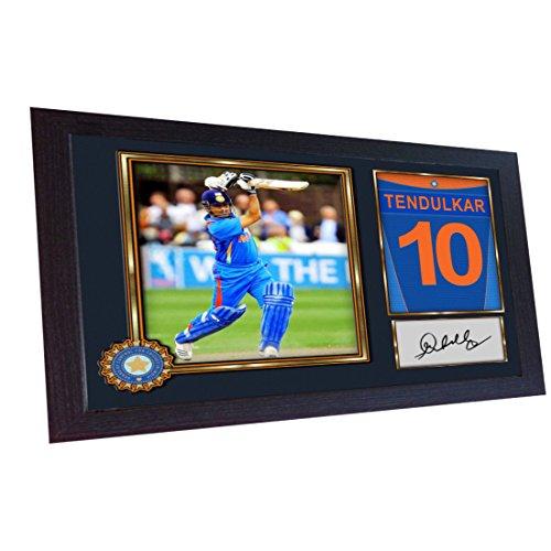 S&E DESING Sachin Tendulkar Cricket Indian Signed Poster Autograph Print Photo Framed #003