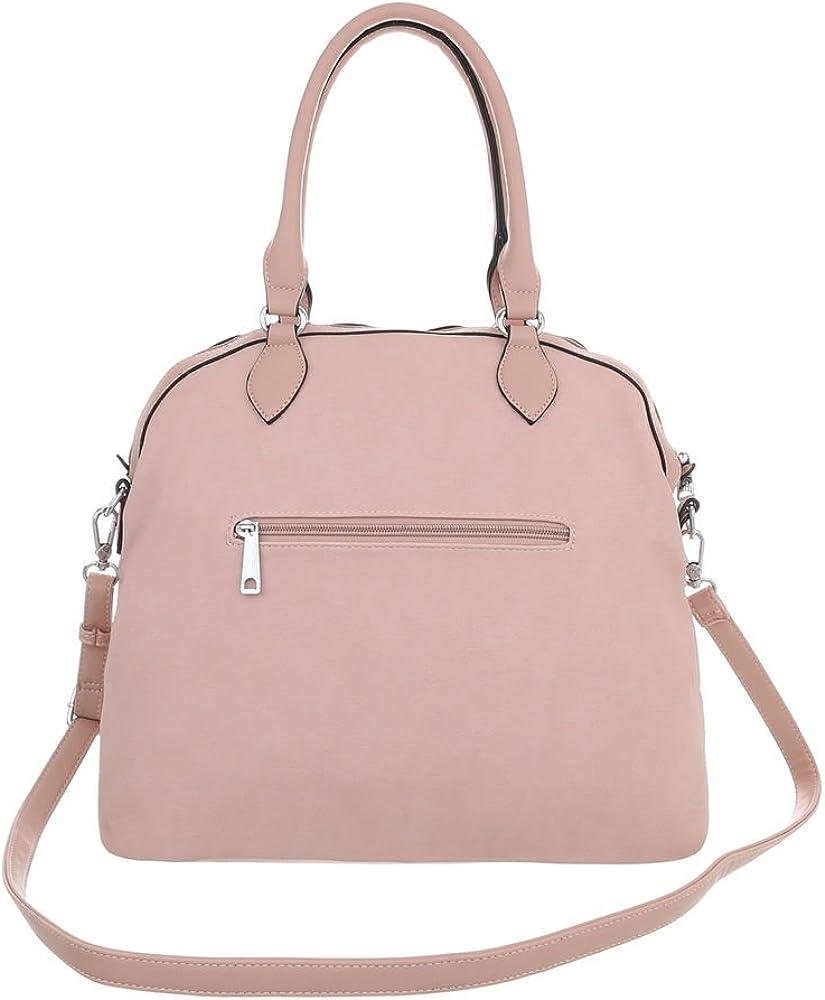 Ital-Design Damentasche Mittelgroße Schultertasche Handtasche Used Optik Kunstleder TA-JQ8058-3 Hellrosa