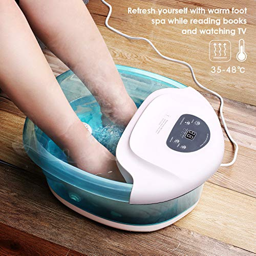Maxkare Foot Spa Foot Bath Massager with Heat and Massage Vibration Bubbles 3 in 1 Multifunction, 4 Removable Manually Rollers Pedicure Spa Tired Feet Home Use Relief stress (Roller Max Massager)