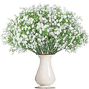 Bosslandy Babys Breath Artificial Flowers Fake Bule Bouquet of Flowers for Wedding 12 Pcs Faux Dried Baby's Breath Crown Silk Real Touch Gypsophila for Home Party Garden Decoration(White)