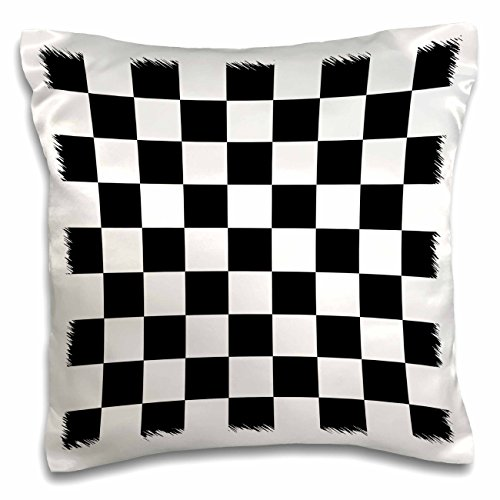 3dRose Check black and White Pattern-Checkered Checked Squares Chess Checkerboard or Racing Car Race Flag-Pillow Case, 16 by 16