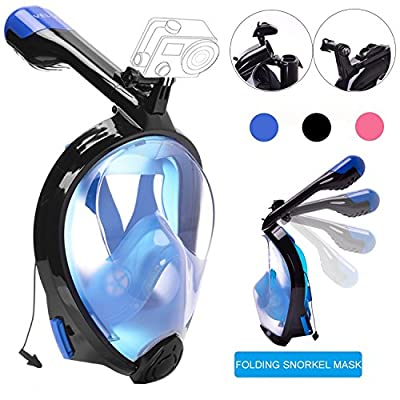 Snorkel Mask Full Face,VELLAA 180°Panoramic View Scuba Diving Mask Snorkeling Mask Anti fog Anti Leak for Adults Kids,Easybreath Underwater Snorkeling Gear with Foldable GoPro and Earplug