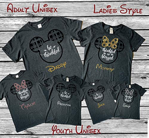 Dark Heather Thanksgiving Disney Inspired Family Mix and Matching Shirts, Glitter Minnie Mouse Bow and Plaid Mouse Ears Personalized Option available - Family Glitter