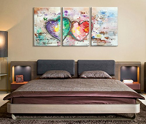 Everfun Handmade Abstract Oil Painting on Canvas 3 Panels Loves Heart Hand Painted Art Modern Texture Artwork Wall Decoration Framed Ready to Hang by EVERFUN ART (Image #3)