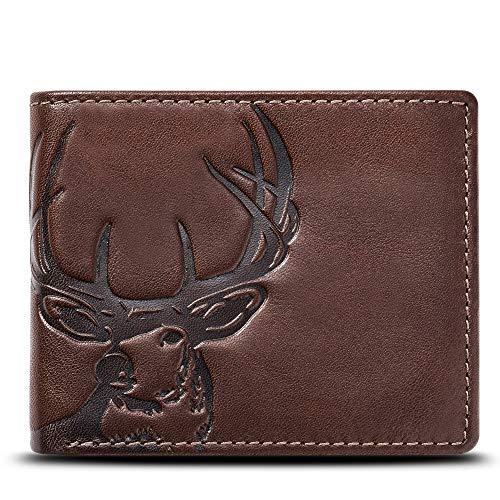 HOJ Co. DEER Wallet-Double ID Bifold-Full Grain Mens Leather Wallet-Multi Card Capacity (Men Wallets Hunting)