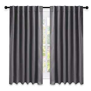 NICETOWN Blackout Curtain Panels for Living Room - (Grey Color) 52x63 Inch, 2 Panels Set, Room Darkening Blackout Drapes for Window