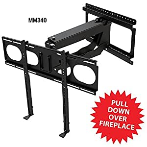 Mantelmount Mm340 Pull Down Fireplace Tv Mount For 44 80 Tvs Above Mantel Home