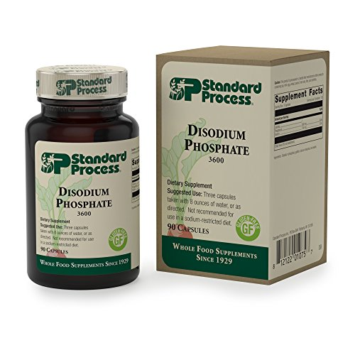 Standard Process - Disodium Phosphate - Short-Term Bowel Support Supplement, Supports Healthy Elimination, Intestinal Motility, Provides Phosphorus and Sodium, Gluten Free - 90 Capsules -  3600