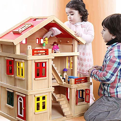 WDXIN Juguete de casa Juegos niños Educativo Casa de Madera Chico Villa Suite de simulación de Girl House Regalo de...