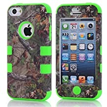 iPhone 5C Case,Lantier Defender Body Armor Realtree Camo Hard Silicon Rubber Military Rugged Protective Case Combo with Camouflage Wood Design Cover for Apple iPhone 5C [Green Tree Green]
