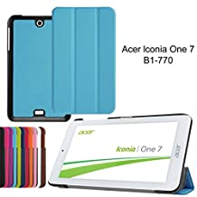 Acer Iconia One 7 B1-770 Protective Case,Leather Cover [Scratch Resistant][vibrant Patterns]Slim Protector with Flip Cover for Acer Iconia One 7 B1-770 Folding Case-Light bule