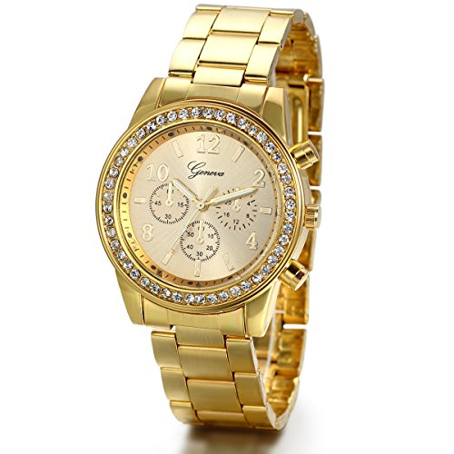 Watch Stainless Gold (JewelryWe Luxury Mens Dress Watch, Stainless Steel Bling Rhinestones Accented Quartz Wrist Watches - Gold)