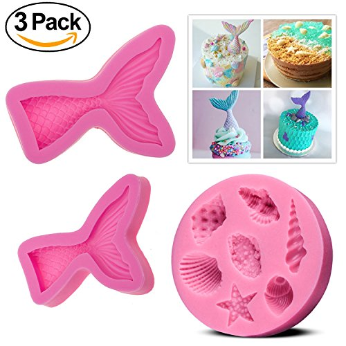 QIBOX(Set of 3) Silicone Fondant Cake Molds, Non-stick BPA Free Chocolate, Jelly, Candy Mold, Cupcake DIY Baking Decoration Tool, Mermaid Tails (Large + Small) + Sea - Seashells Are How Made