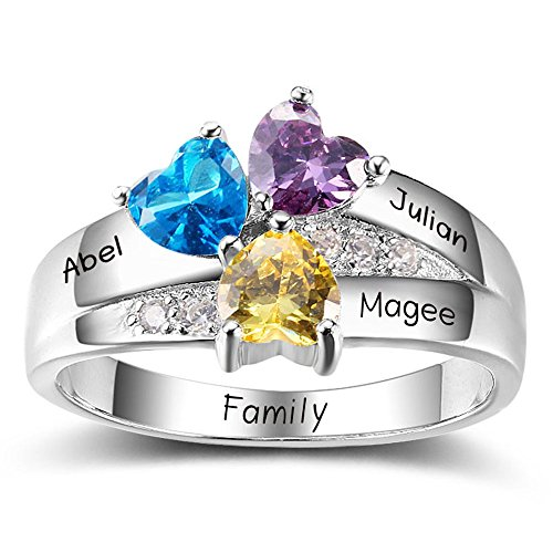 Diamondido Personalized Simulated Birthstone Mothers Ring with Childrens Names Engraved Family Promise Rings for Her (7)