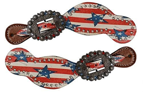 Showman Ladies Size Leather Red, White and Blue Stars and Stripes Spur Straps