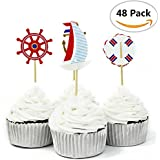 48 Pcs Nautical Theme Cupcake Picks Cupcake Toppers Food Fruit Picks for Decoration By Fireboomoon