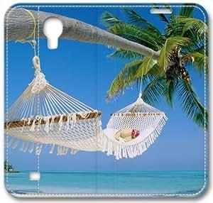 Tropical Beach Bed S4 Case, Samsung Galaxy S4 I9500 Case, Leather Cover for Samsung Galaxy S4 / S 4/ S IV