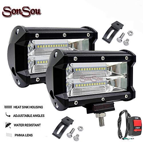 SONSOU 5IN20LNW 20 LED Bar Light Universal Bike Car Fog Light – Version 2 – Work Light Aluminum SMD LED Bar Light for…