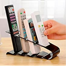 Remote Control Organizer, Iron Fourfold TV DVD VCR Children Toy Step Shelf Remote Control Mobile Phone Holder Stand Home Storage Mobile Phone Caddy Organiser (Black)