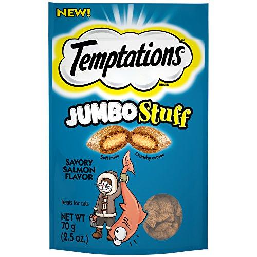 Temptations Jumbo Stuff Cat Treats Savory Salmon Flavor, (12) 2.5 Oz. Pouches