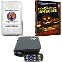 Halloween Digital Decoration Kit includes 640 x 480 Resolution Projector, Reaper Brothers Rear Projection Screen and AtmoFearFX Jack-O-Lantern SD Card