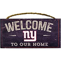 New York Giants NFL Team Logo Garage Home Office Room Wood Sign with Hanging Rope - WELCOME TO OUR HOME