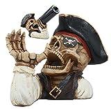 Ebros Bootleg Rum Gold Tooth Pirate Captain Hook Skeleton Wine Holder Figurine Evil Dead Sea Skeleton Pirate Marauder Kitchen Decor Centerpiece Review