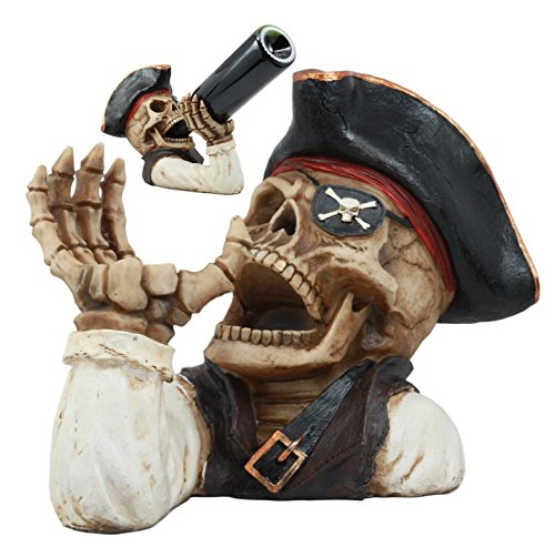 Ebros Bootleg Rum Gold Tooth Pirate Captain Hook Skeleton Wine Holder Figurine Evil Dead Sea Skeleton Pirate Marauder Kitchen Decor Centerpiece ()