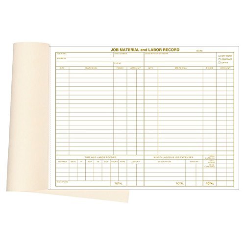 """Labor Records - Material & Labor Records Booked Forms Size: 11"""" x 8 ½"""