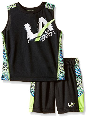 LA Gear Boys' Little 2 Piece Logo Print Short and Tank Set, Black, 5 (Logo Tracksuit)