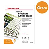 Office Depot Professional Brochure and Flyer Paper, Glossy, 8 1/2in. x 11in, 50 Lb, 4-Pack of 100 Sheets Each