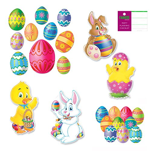 Easter Party Supplies Egg, Chick, Bunny Cutout Decorations