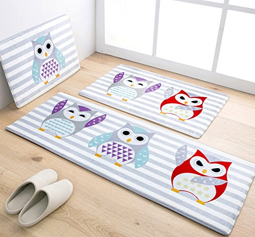 Cartoon Animal Prints Owl Kitchen Rug Runner Blue Striped Absorbent Non-slip Bath Rug 3pc Sets Kids Bedroom Bedside Rug Runner (1'3x2'0+1'6x2'6+1'5x4'0, 4)