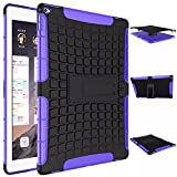 """iPad Pro Case, iCoverCase Heavy Duty Tough Rugged [Dual Layer] Case Back Cover with Built-in Kickstand for Apple iPad Pro 12.9"""" (Purple)"""