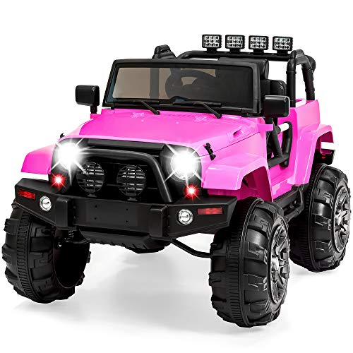 Best Choice Products 12V Ride On Car Truck w/ Remote Control, 3 Speeds, Spring Suspension, LED Light - Pink]()