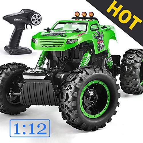 Remote Control Trucks Monster RC Car 1: 12 Scale Off Road Vehicle 2.4Ghz Radio Remote Control Car 4WD High Speed Racing All Terrain Climbing Car Toys Car Gift for Boys (Green) (Best Rc Monster Truck For Kids)