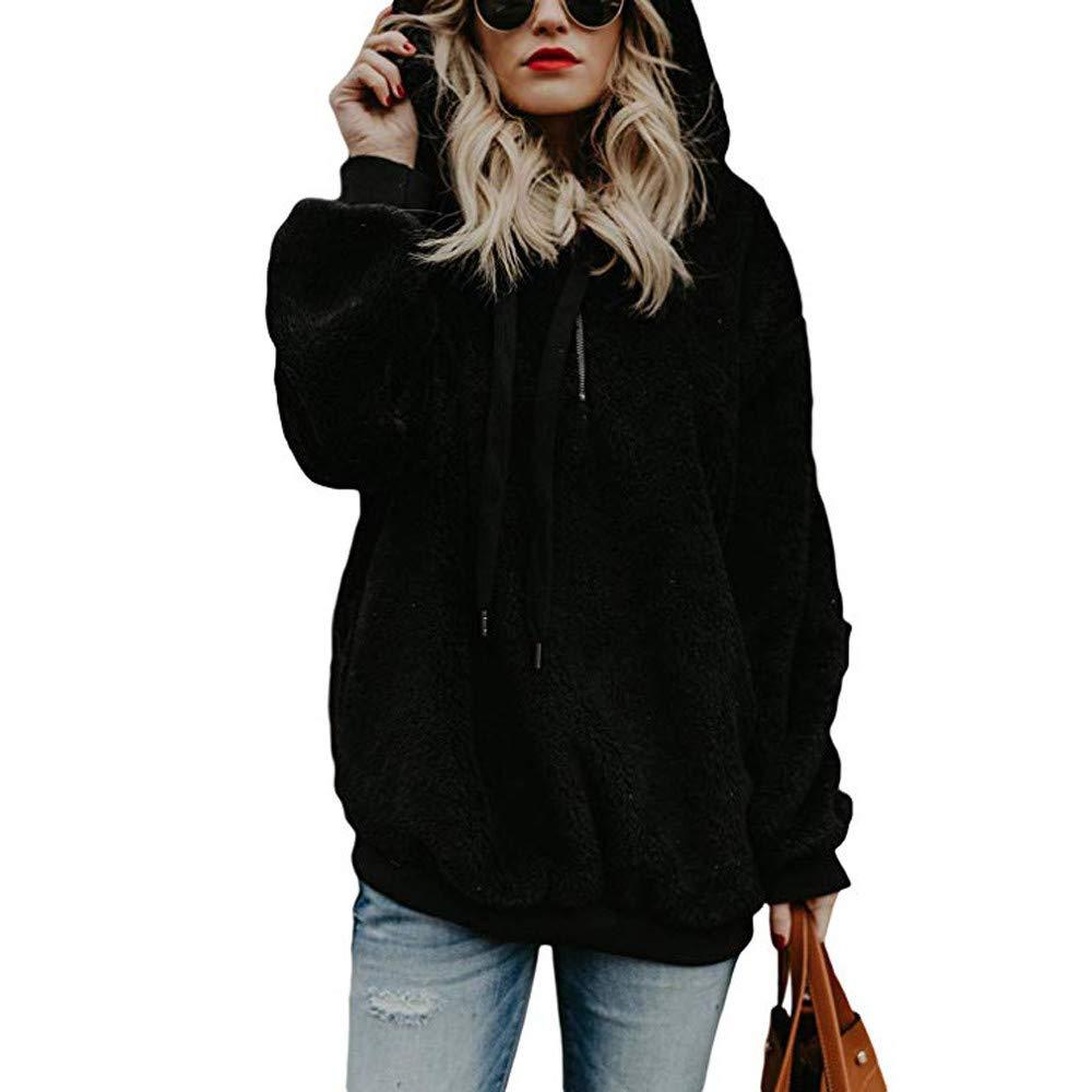 Farjing Clearance Sale Women Hooded Sweatshirt Coat Winter Warm Wool Zipper Pockets Cotton Coat Outwear(XL,Black
