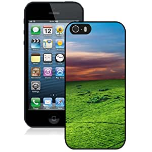 NEW Unique Custom Designed iPhone 5S Phone Case With Green Field Sunset Sky_Black Phone Case