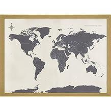 Joy Sunday Cross Stitch Kit 14CT Stamped Embroidery Kits Precise Printed Needlework- World Map 49×33CM