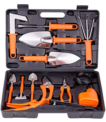 BNCHI Gardening Tool Set -13 Pieces of Garden Tools, with Portable Gardening Carrying case,Gardening Gifts for Women…