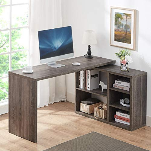 HSH L Shaped Computer Desk, Rustic Wood Corner Desk, Industrial Writing Workstation Table with Cabinet Drawer Storage for Home Office Study, Grey 55 inch
