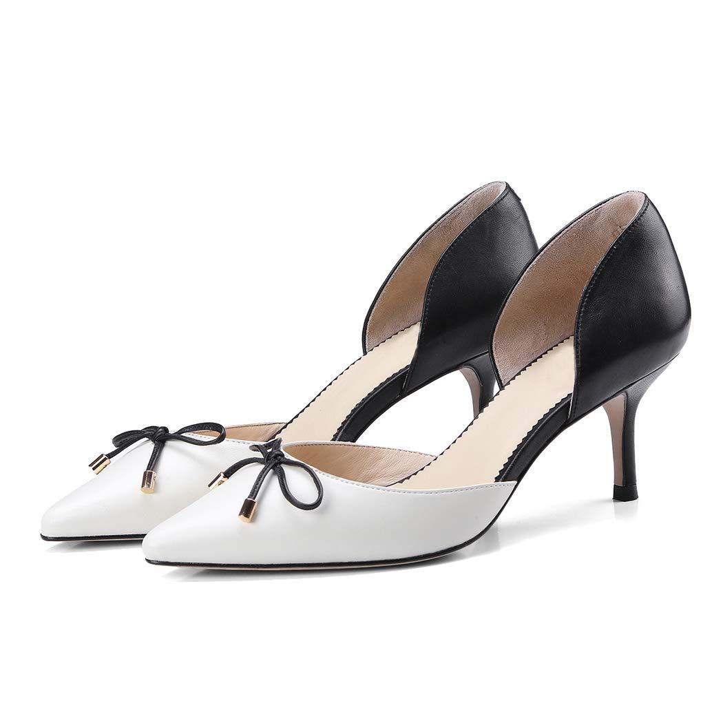 Frühling und Sommer Frauen High Heels tragen farblich abgestimmten spitzen Bogen High Heels atmungsaktiv Retro flachen Mund Set Leder Farbe passenden High Heel weibliche hohle Sandalen  | Rabatt  | Starker Wert