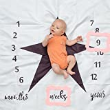 Baby Milestone Blanket with 2 FREE Prop Frames For Newborn, Boys & Girls. Large 47x47 Premium Fade Free Poly Cotton Fabric. Perfect Photo Back Drop, Swaddle Blanket & Baby Shower Gift