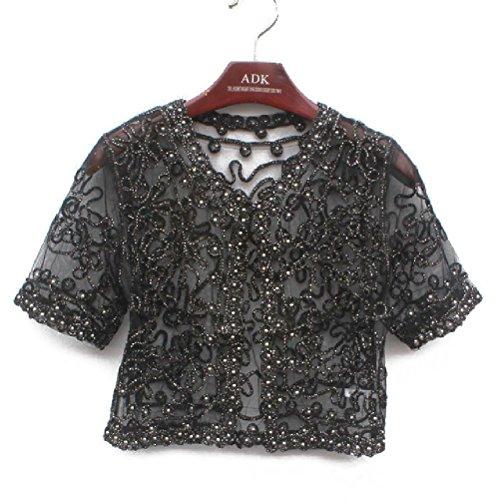 20's Flapper Coat - Women Coat Embroidery Embellished Short Sleeve Sheer Lace Mesh Top Jacket