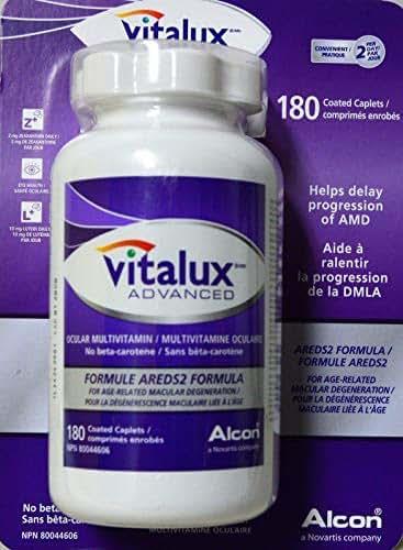 Vitalux Advanced Ocular multivitamin/No beta-carotene/Formula Areds2, 180 coated caplets
