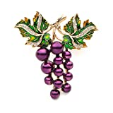 WULI & BABY Copper Purple Grape Enamel Brooches for WomenWeddings Brooch Pins Gifts