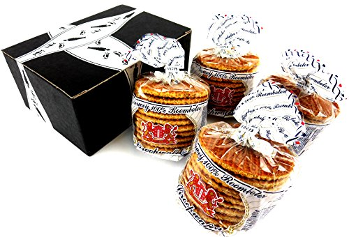 Verweij 100% Roomboter Siroopwafels (Butter Stroopwafels), 10.6 oz Packages in a BlackTie Box (Pack of - Gouda Holland