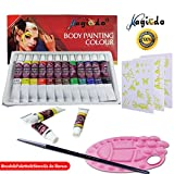 Magicdo 12 Cols Face and Body Paint,Facepaint Kit with 1 Palette, Brush and 30 Stencils, Nature Washable Non-Toxic Face Painting Kits, Clown Makeup Kit Kids Paint for Halloween Party(12ml/tube)