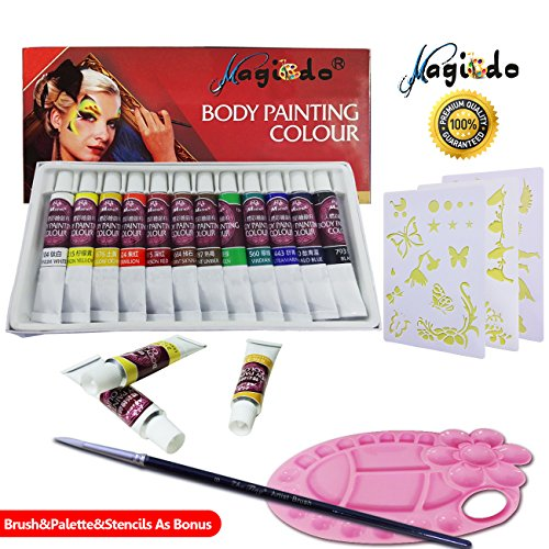 Magicdo 12 Cols Face and Body Paint,Facepaint Kit with 1 Palette, Brush and 30 Stencils, Nature Washable Non-Toxic Face Painting Kits, Clown Makeup Kit Kids Paint for Halloween (Body Painting Tube)
